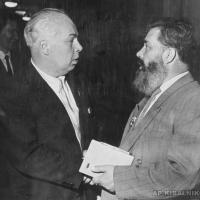 Президент Академии Художеств СССР В. Серов и А.П. Кибальников